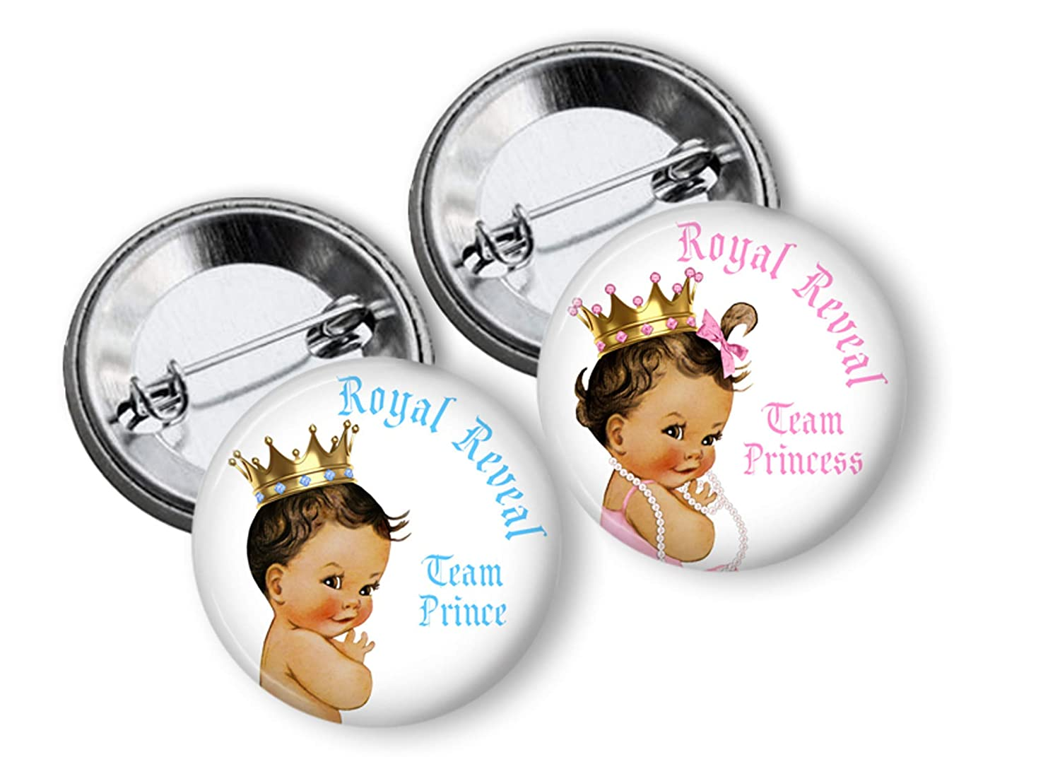 Gender Reveal Pins Royal Reveal Prince or Princess Gender Reveal Party Favors Team Pins Gender Reveal Ideas