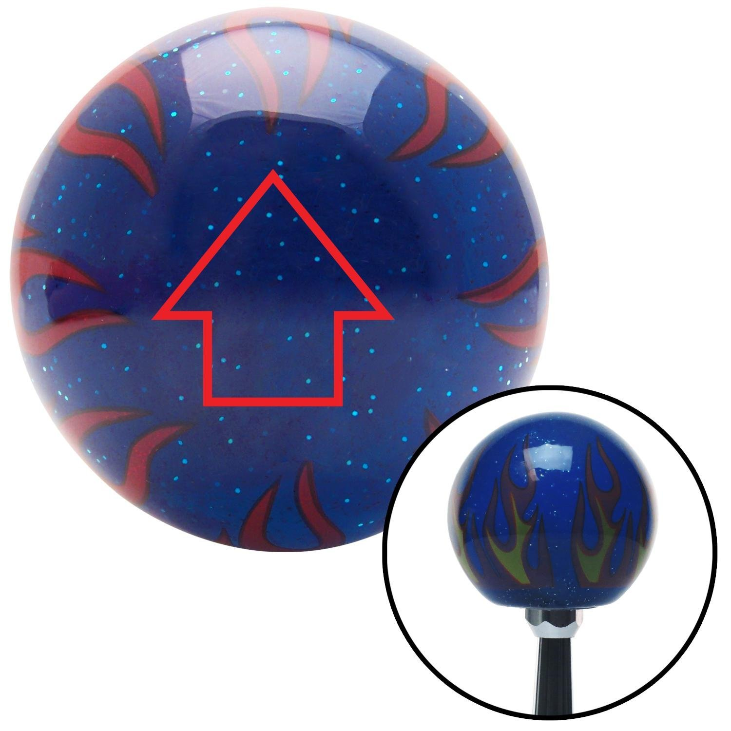 Red Classic Arrow Up American Shifter 244431 Blue Flame Metal Flake Shift Knob with M16 x 1.5 Insert