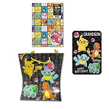 Pokemon Gift Wrap With Grandson Birthday Card Bag