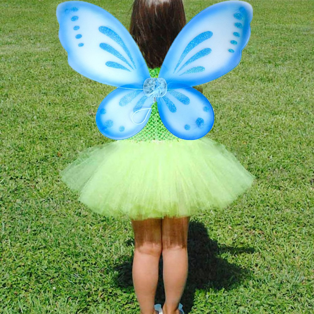 75d343e7a4 Amazon.com  Dushi Fairy Wings Dress up Wings Butterfly Fairy Halloween  Costume Angel Wings Kids(Blue)  Toys   Games