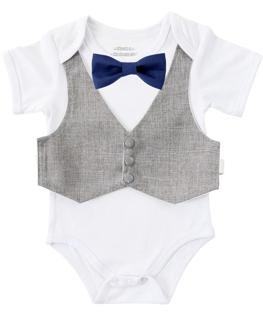 Noah's Boytique Baby Boys Vest and Bow Tie Outfit Baby Suit Coming Home Outfit Grey and Navy Blue Newborn