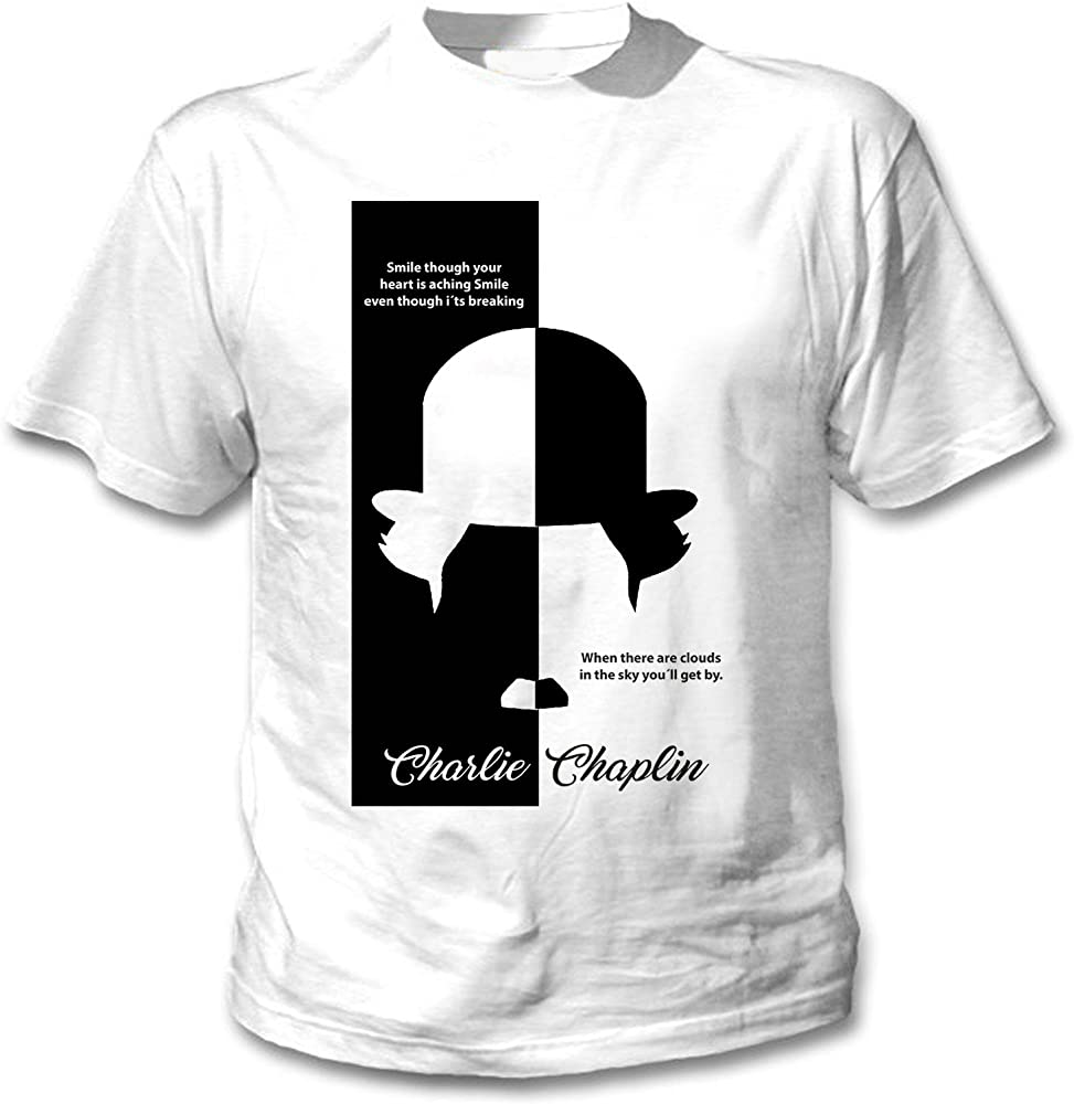 teesquare1st Charlie Chaplin - Smile Though Camiseta Blanca para Hombre de Algodon Size Small: Amazon.es: Ropa y accesorios