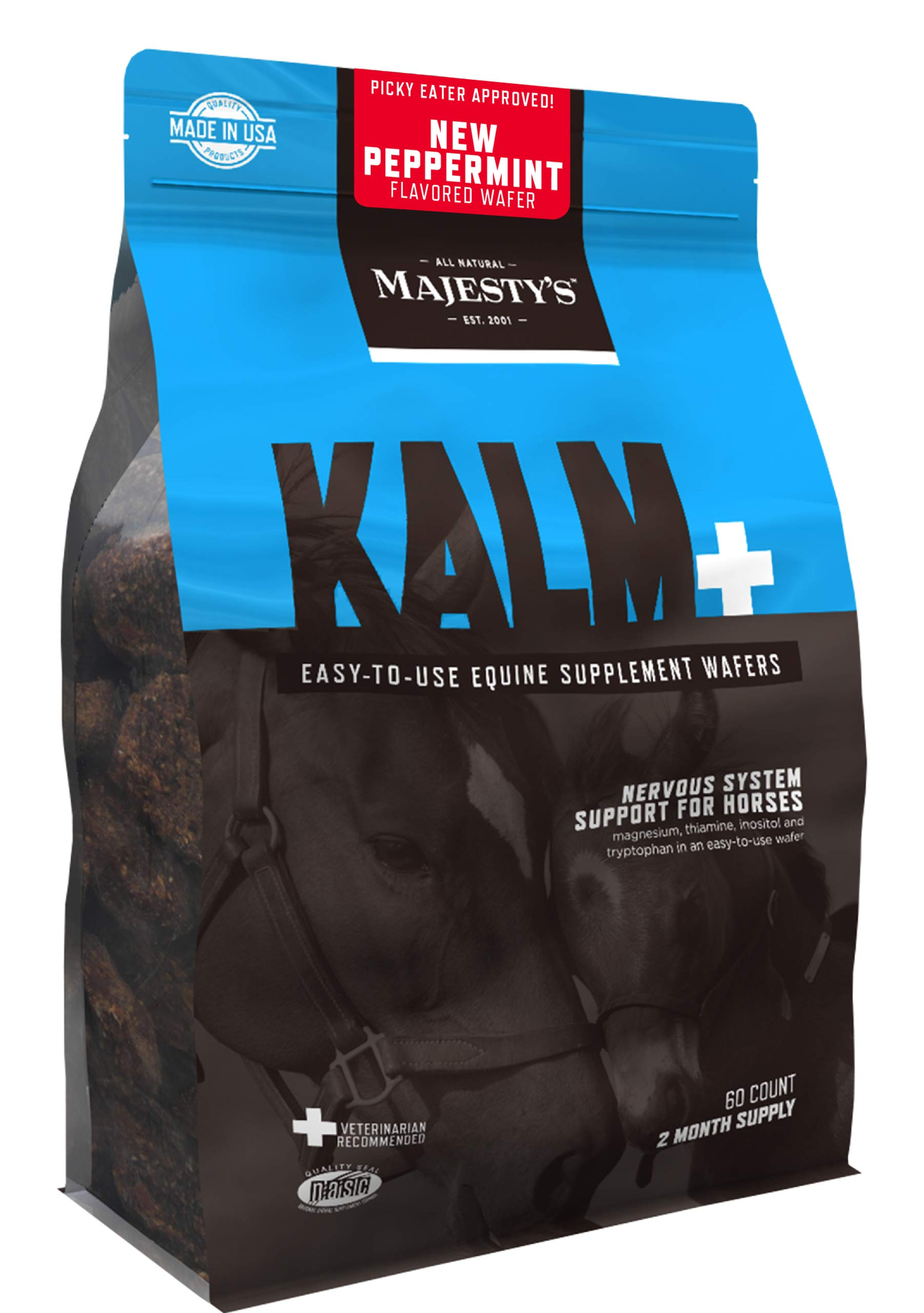 Majesty's Kalm+ Peppermint Wafers - Horse/Equine Balanced Behavior & Nervous System Function Supplement - Tryptophan, Vitamin B1 - Calming, Eases Anxiety/Fear/Anger - 2 Month Supply (1 Bag/60 Count) by Majesty's