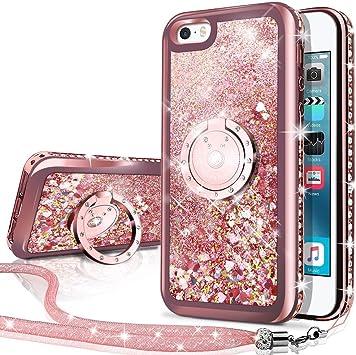 Miss Arts Coque iPhone Se,Coque iPhone 5S/5 [Silverback] Fille Silicone Paillette Strass Bling Glitter de Luxe avec Support,Liquide Gel Bumper Housse ...