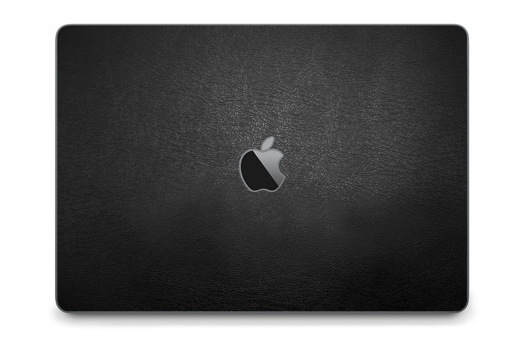 iCarbons Black Leather Vegan Skin Wrap for MacBook Pro 15'' (Late 2016-Current, With Touchbar) Full Combo