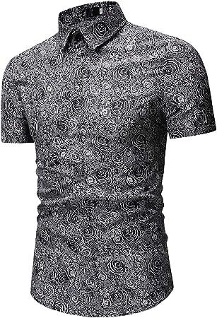 W&TT Los Hombres Retro Floral Vestido Camisa Slim Fit Casual Manga Corta botón de Abajo Camisas,Gray,XXL: Amazon.es: Hogar