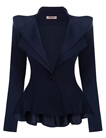 separation shoes b61b0 000e6 Donkap Women s Fashion Office Single Button Double Fit Flare Blazer Jacket  Navy Blue S