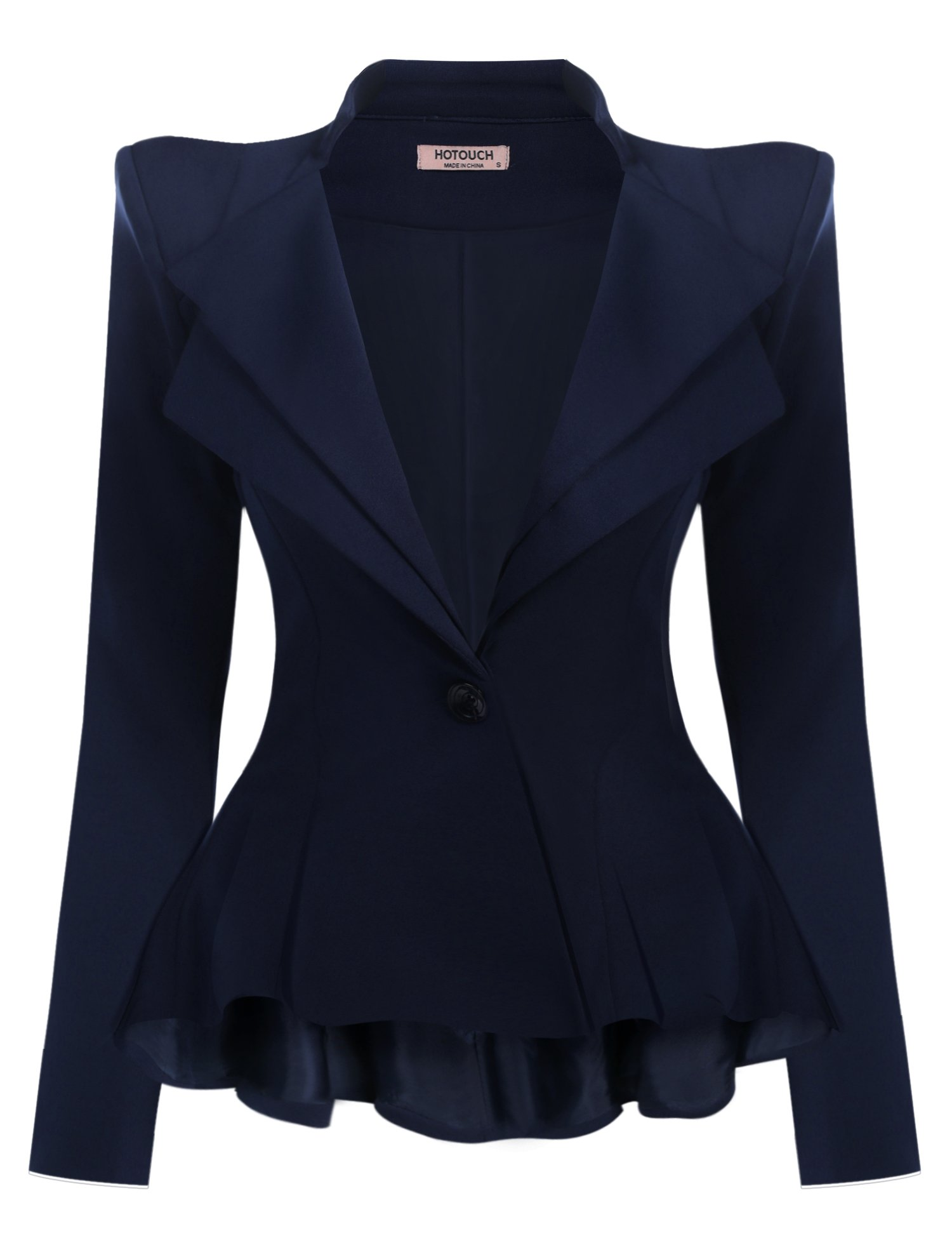 Hotouch Women's Fashion Office Single Button Double Fit Flare Blazer Jacket Navy Blue S