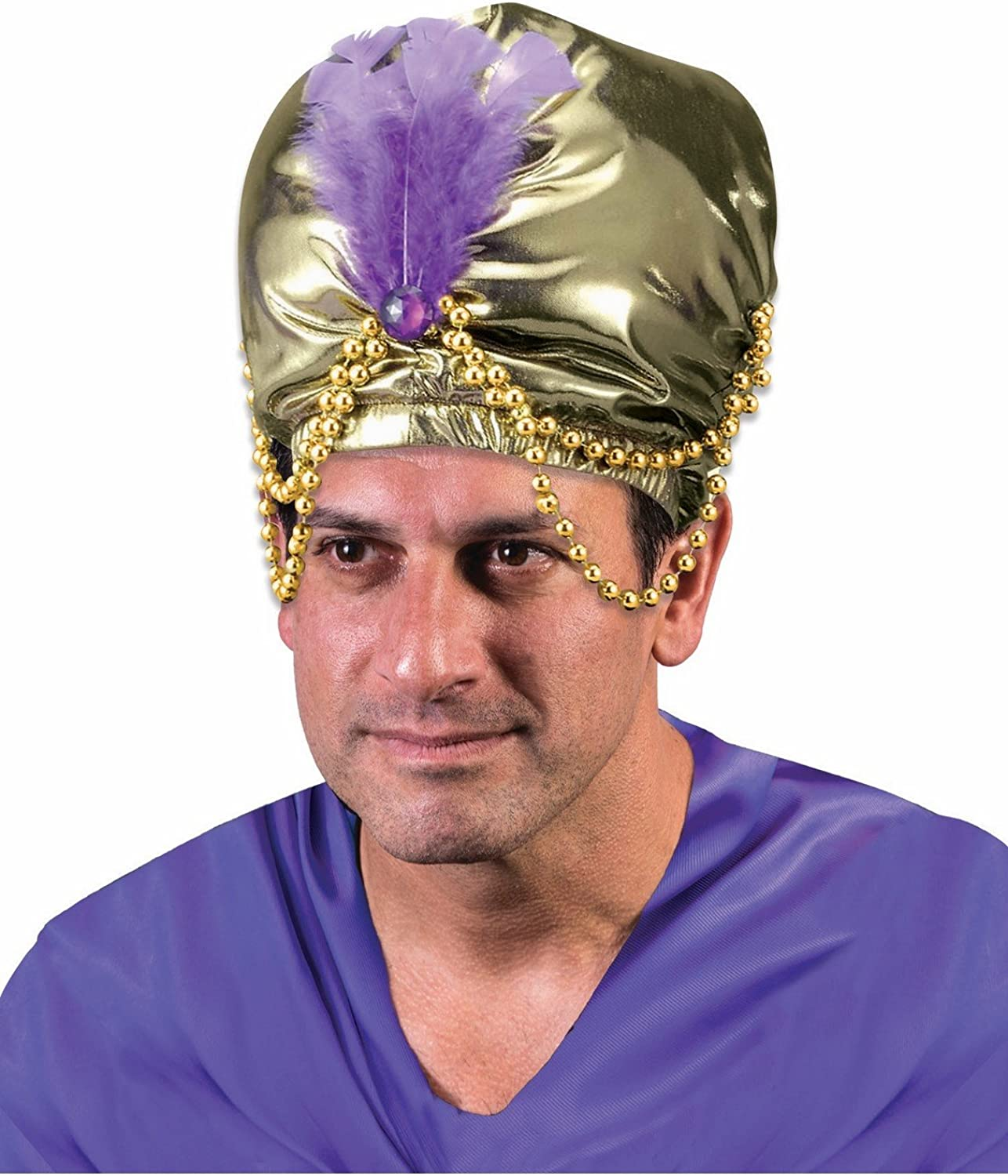 Deluxe Gold Sultan Hat Turban w// Feather