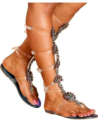380bd1fc23 Amazon.com | Vigo Fiore Women's Goddess Jewled Clear Gladiator ...