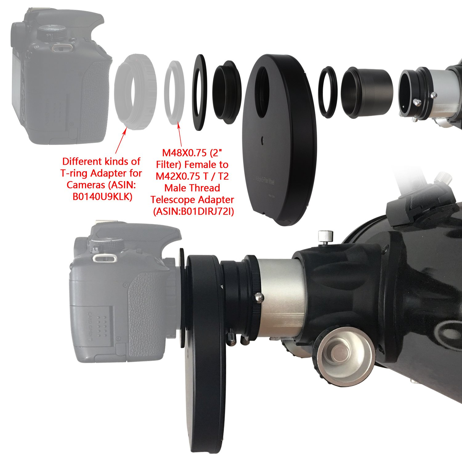 Astromania 2'' Superior Quality Multiple 5-Position Filter Wheel For Telescope - allowing you to image without any reflections or stray light by Astromania (Image #7)