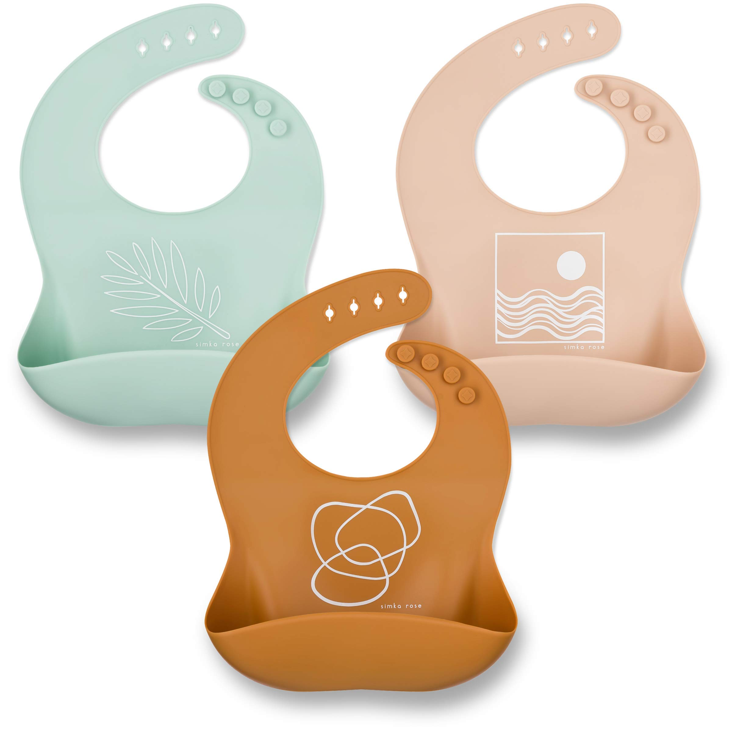 Simka Rose Silicone Bib - Waterproof Baby Bibs for Girls and Boys - Perfect for Babies and Toddlers - Easy to Clean Feeding Bibs - Set of 3 (Rust/Sand/Sage) by Simka Rose