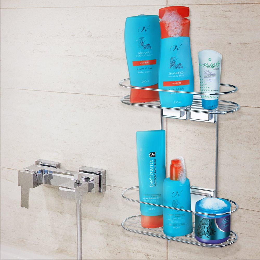 Amazon.com: Arthi Shower Caddy With Suction Cups. 2 Tier Basket for ...