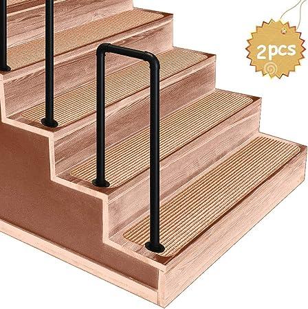 ZzJj - Piquete de barandilla #fit 2 o 4 peldaños barandillas de Hierro Forjado, escaleras Exteriores para niños Mayores barandillas de rejas, para porches, peldaños de jardín: Amazon.es: Hogar
