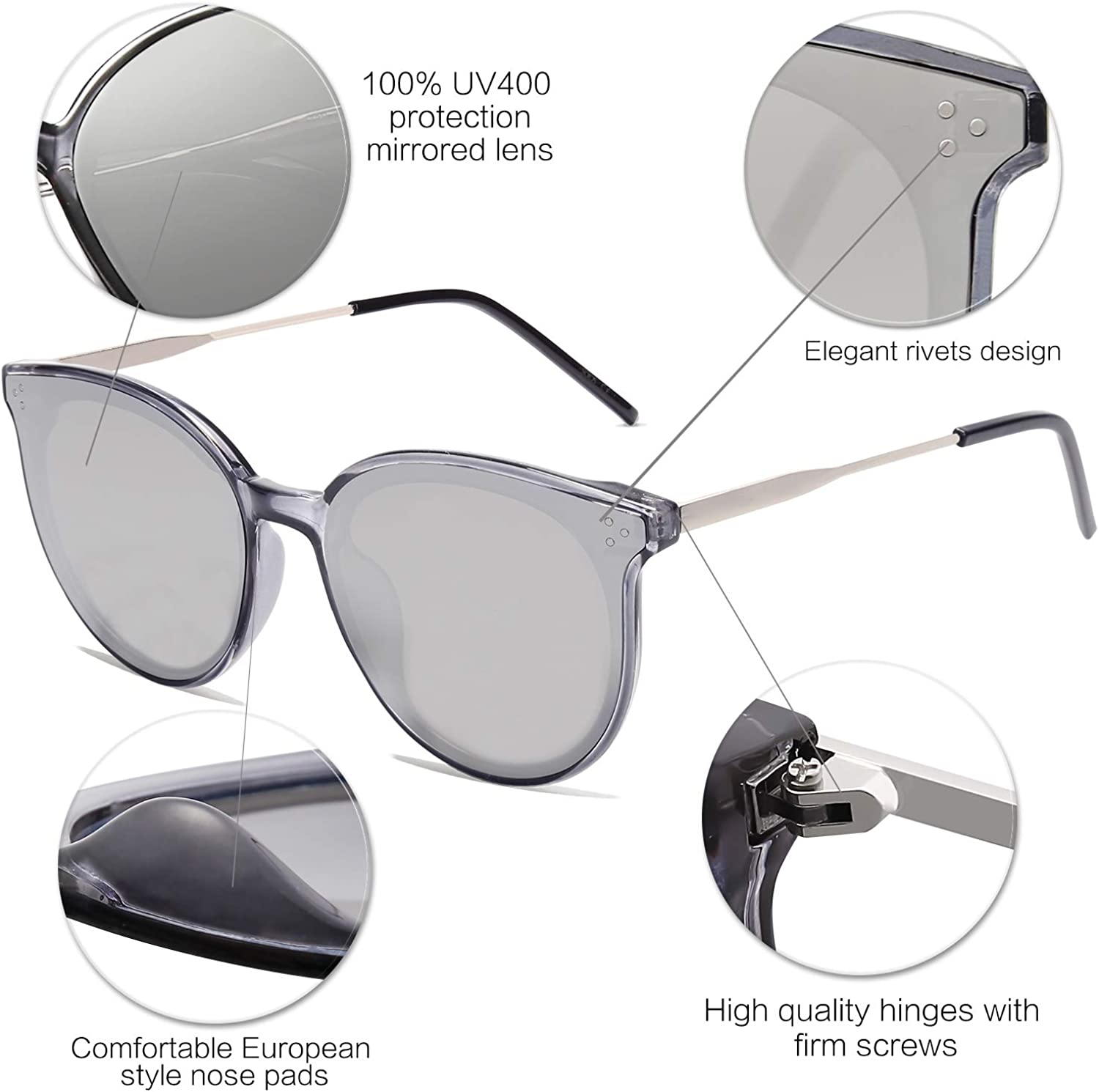 SOJOS Classic Retro Round Oversized Sunglasses for Women with Rivets DOLPHIN SJ2068