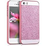 kwmobile Hardcase Hülle für > Apple iPhone SE / 5 / 5S < mit Glitzer Rechteck Design - Hartschale Backcover Case Schutzhülle Cover in Pink Weiß