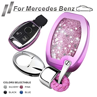 RYE for Mercedes Benz Key Fob Cover with Glitter Liquid Quicksand,Flowing Bling Sparkle Key Fob Case Fit Benz A B C E G S R M G CLS CLK GLK GLC Class Keyless Smart Key Fob - Pink: Automotive