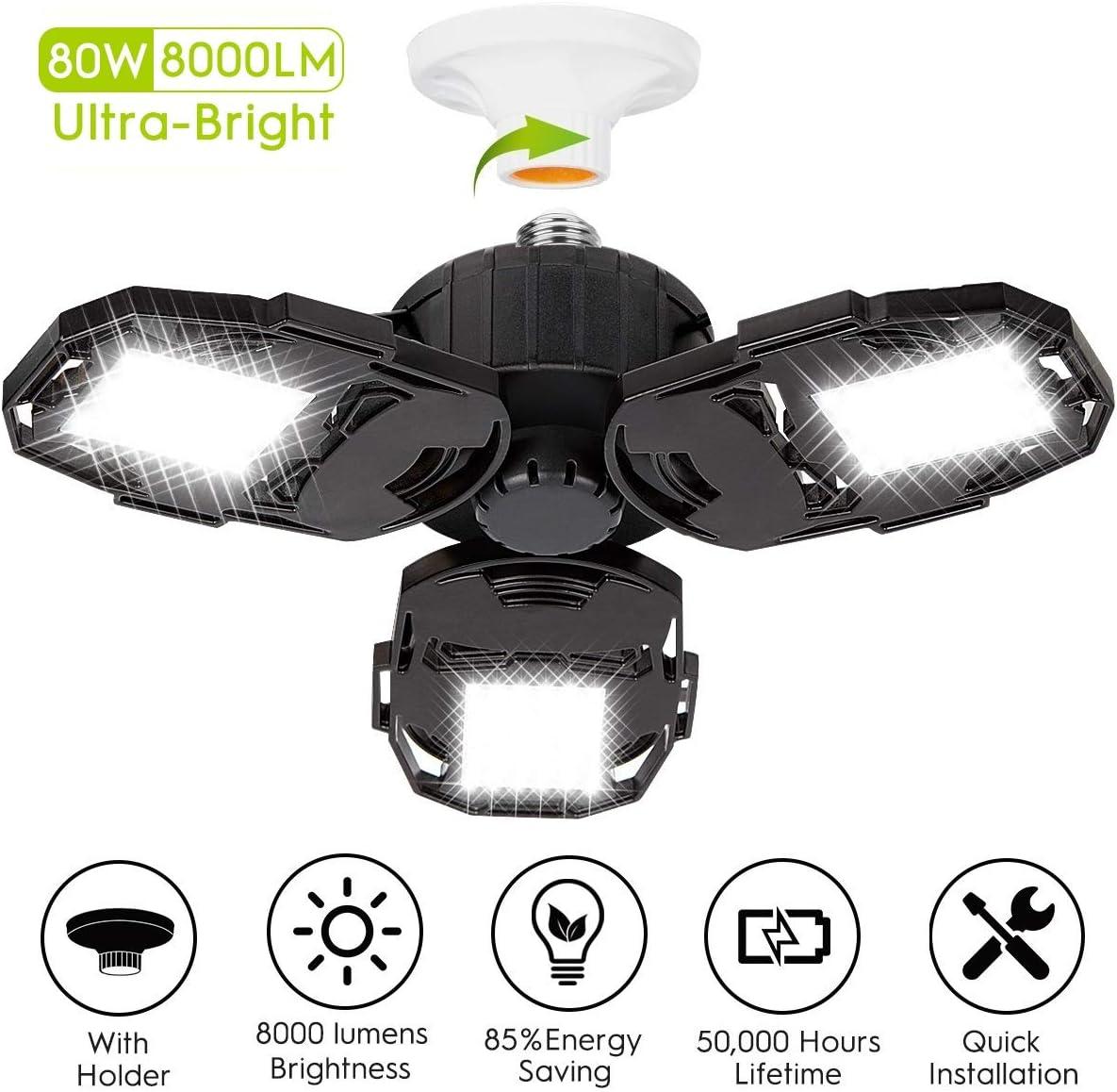 LED Garage Lights, 80W Deformable Garage Ceiling Light ...