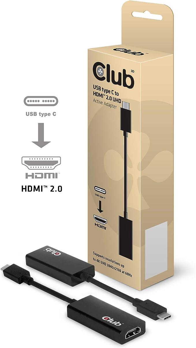 Club 3d Usb 3 1 Typ C Auf Hdmi 2 0 4k60hz Uhd Aktiver Computer Zubehör