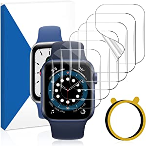 Liwin [6-Pack] Screen Protector Compatible with Apple Watch SE Series 6/5 / 4 44mm and Apple Watch Series 3/2 / 1 42mm, Ultra-Thin HD Clear TPU Film Full Coverage Cover for iWatch 42mm 44mm