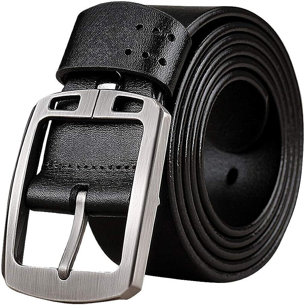 Celino Men Coffee Or Black 1.5 Wide Plain Genuine Cowskin Pin Buckle Belt