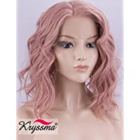 K'ryssma Pink Lace Front Wigs for Women Half Hand Tied Bob Wavy Pink Wig Short Hair Right Side Part Shoulder Length Pink Synthetic Wigs Glueless Heat Resistant