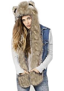 14460d6cf16 Adults Hat Glove Scarf 3 in 1 Set Women Winter Cartoon Hoodie Hats Kit Warm  Hood