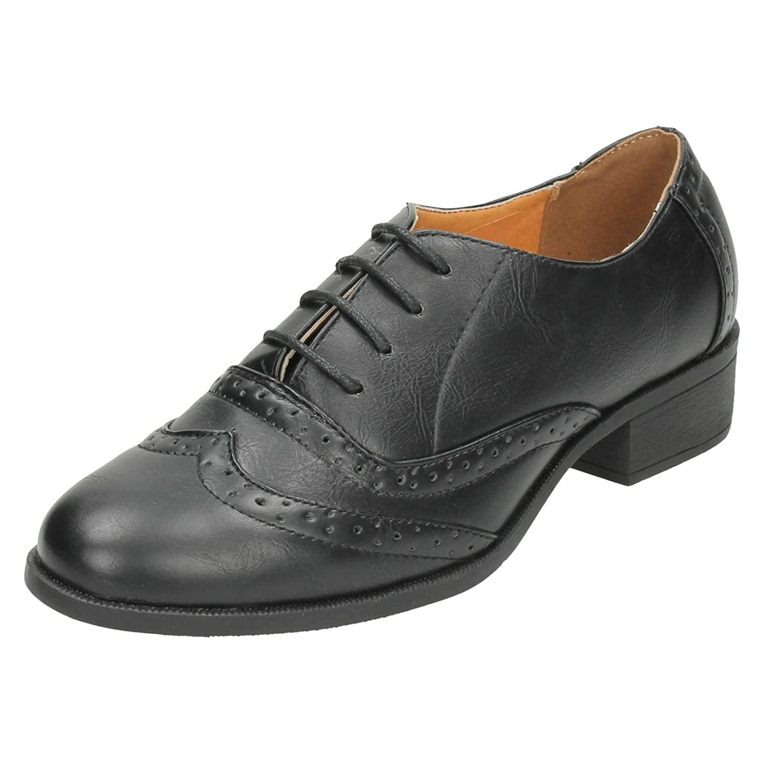 Spot On Ladies Mid Heel Lace Up Brogue Shoes