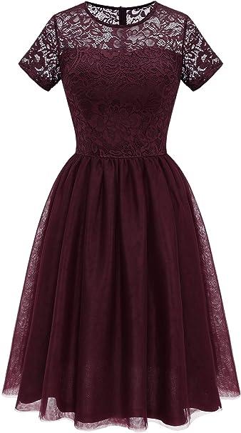 Modecrush Damen Cocktailkleid Abschlussball Partykleider Faltenrock Hochzeitsgast Kleid Amazon De Bekleidung