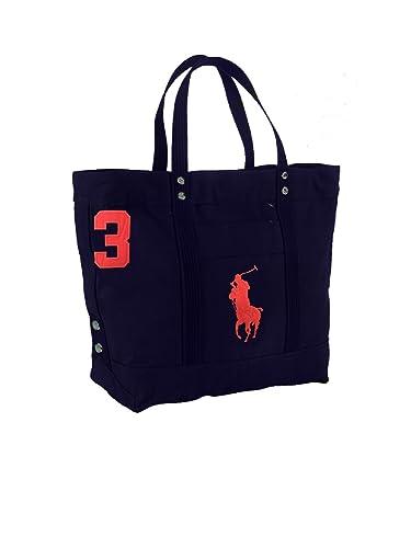 465c6cc1e8 Polo Ralph Lauren Cotton Canvas Big Pony Zip Tote Bag (Aviator Navy)   Handbags  Amazon.com
