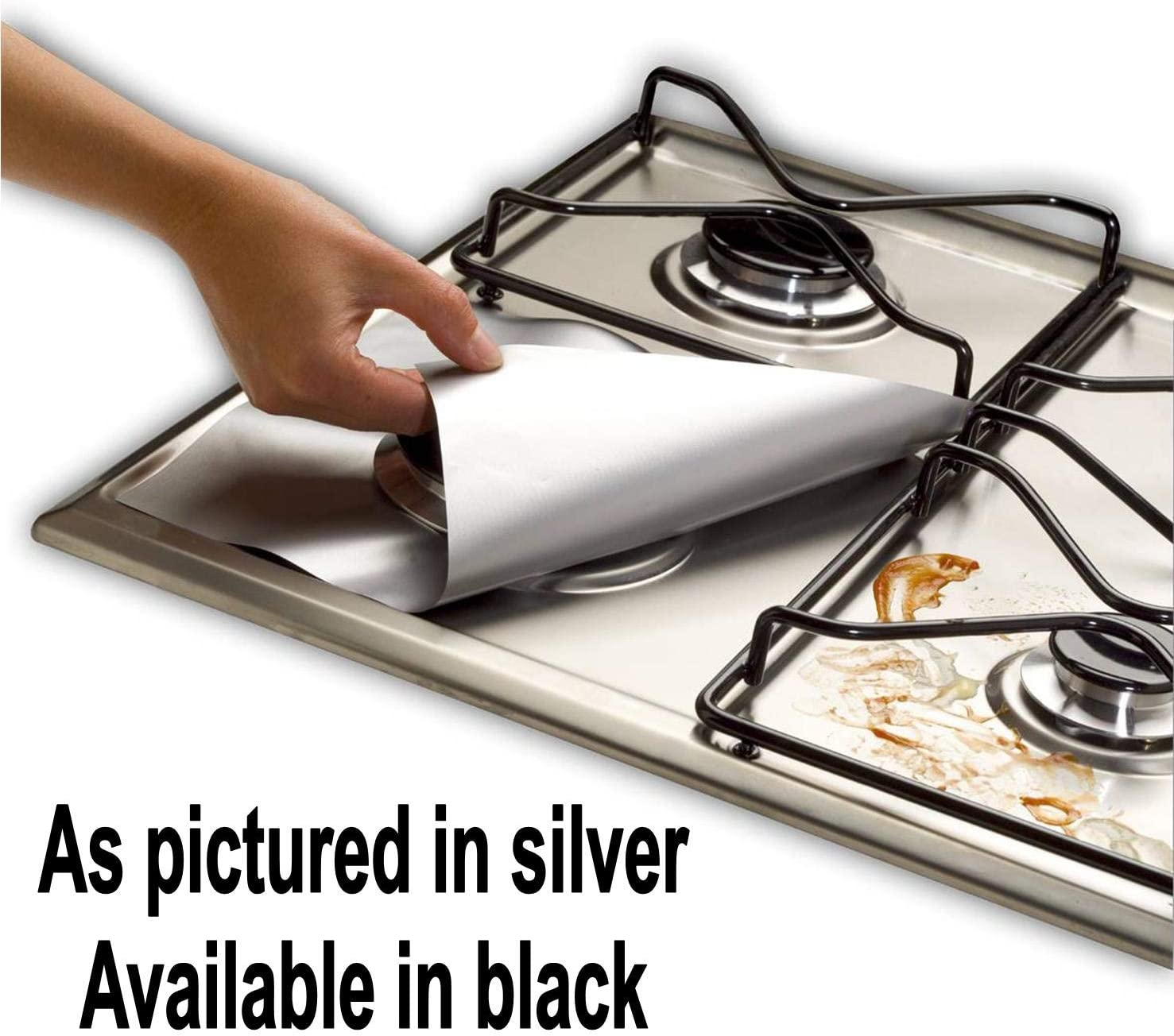 4PCS Kitchen Gas Stove Top Burner Reusable Protector Pad Liner Cleaning E5R8
