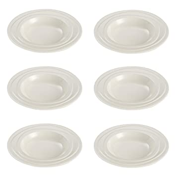 Jamie Oliver Waves Set of 6 Large 23 cm/ 9\u0026quot; Round Deep Dinner Plates  sc 1 st  Amazon UK : off white dinner plates - pezcame.com