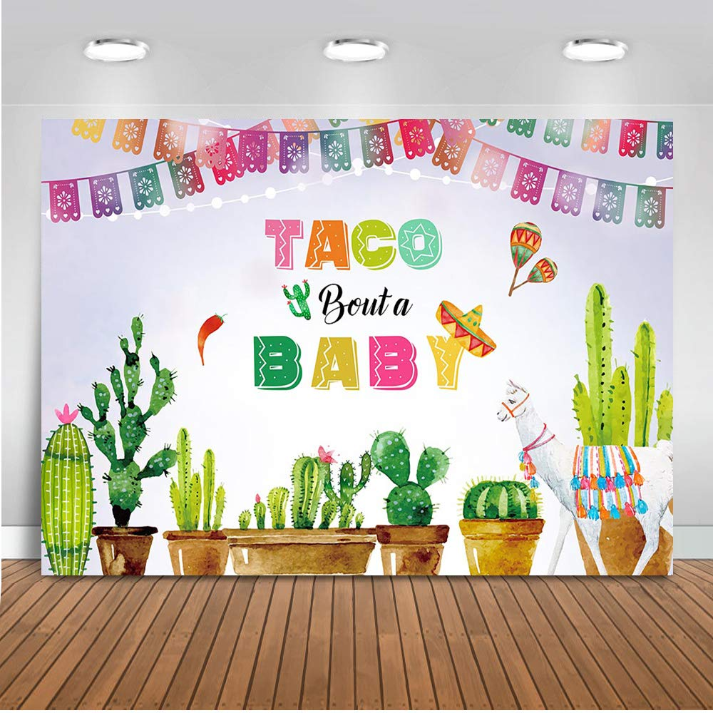 Mocsicka Mexican Baby Shower Backdrop Taco Bout a Baby Party Photography Background 7x5ft Vinyl Fiesta Theme Baby Shower Party Backdrops