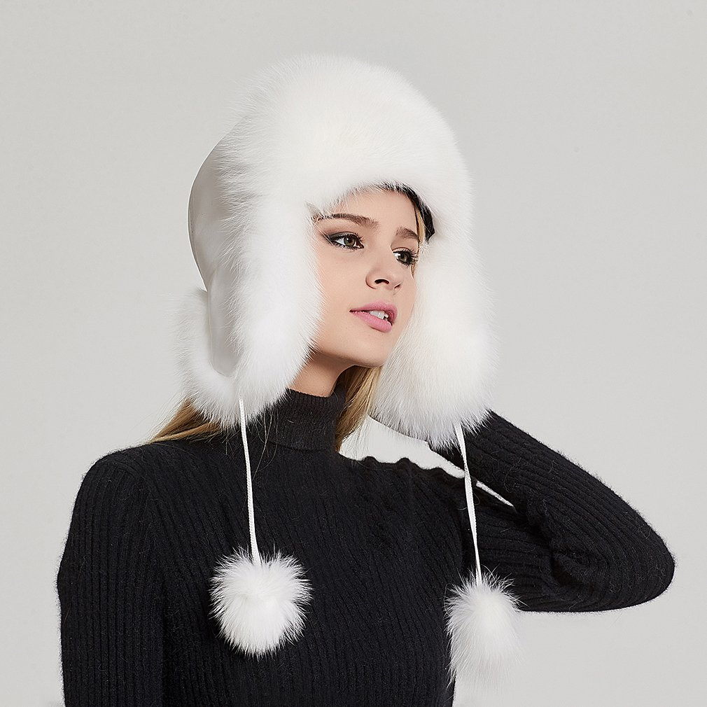 Fur Story Women's Trapper Hat with Sheep Leather Earmuffs Warm Winter Fur Hat (White) by Fur Story (Image #3)