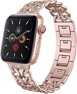 AmzAokay Replacement Bands Compatible for Apple Watch 38mm 42mm Metal Cowboy Chain Strap Wrist Band for Apple Watch 40mm 44mm Series 5 4 3 2 1 Sport Edition(Bling Gold Matches Series 5 4 3, 38mm/40mm)