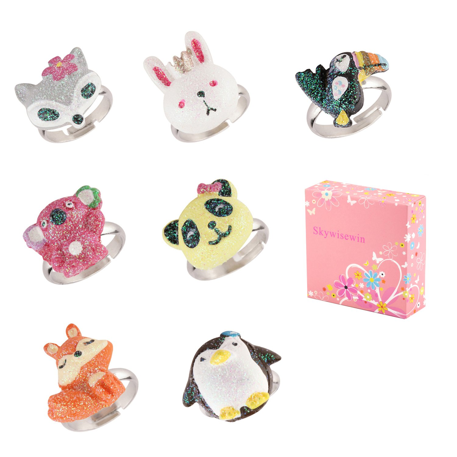 Skywisewin Rings for Little Girls - Multi Pairs Adjustable Cute Animals Rings for Children Made of Polymer Clay - Kid's Jewelry Set of 7 B07DCJ14CN_US