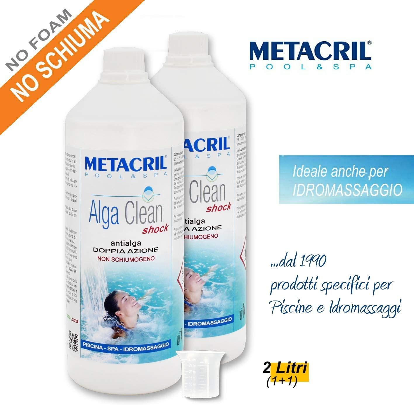 Metacril Antialgas Shock Doble acción + dosificador. Alga Clean Shock para hidromasaje, Piscina y SPA, rígidas o hinchables (Jacuzzi, Teuco, Dimhora, Intex, Bestway, ECC.) Envío inmediato.: Amazon.es: Jardín