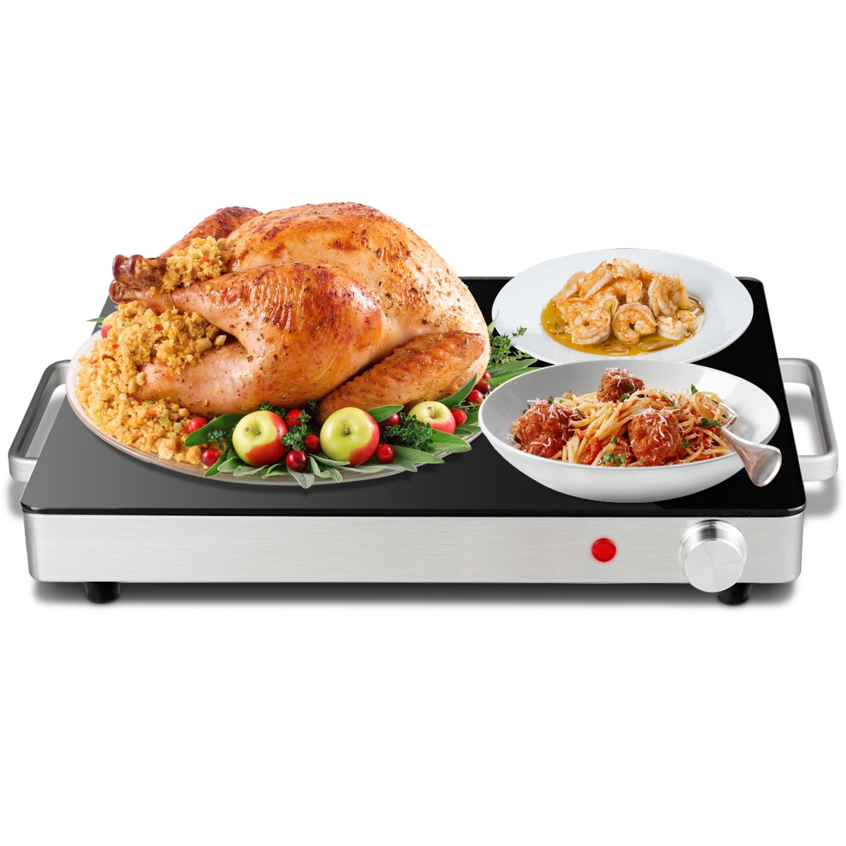 Giantex Warming Tray with Overheat Protection Safe Cool Side Handles, Toughened Glass Top & Four Feet Perfect For Buffets, Restaurants and Home Dinners by Giantex