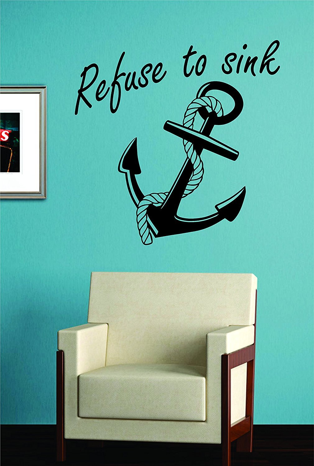 Refuse To Sink Anchor With Rope Quote Design Decal Sticker Wall Vinyl Art Girl Boy Teen Baby By Biu Store by BIU Store