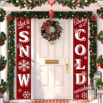 Amazon.com: HOTON Cartel de porche de Navidad, banderín rojo ...