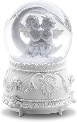 QTKJ White Lover Angel Musical Snow Globes with Color Changing LED Lights, Perfect Home Decor Valentine s Birthday Gift