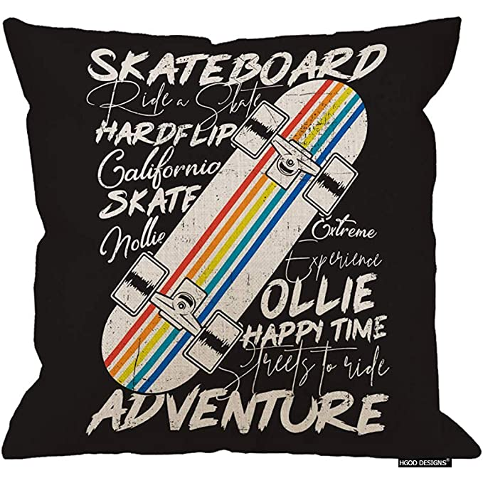 Ducan Lincoln 2pcs 18X18Inch-Skateboard Pillow Cover, diseño ...