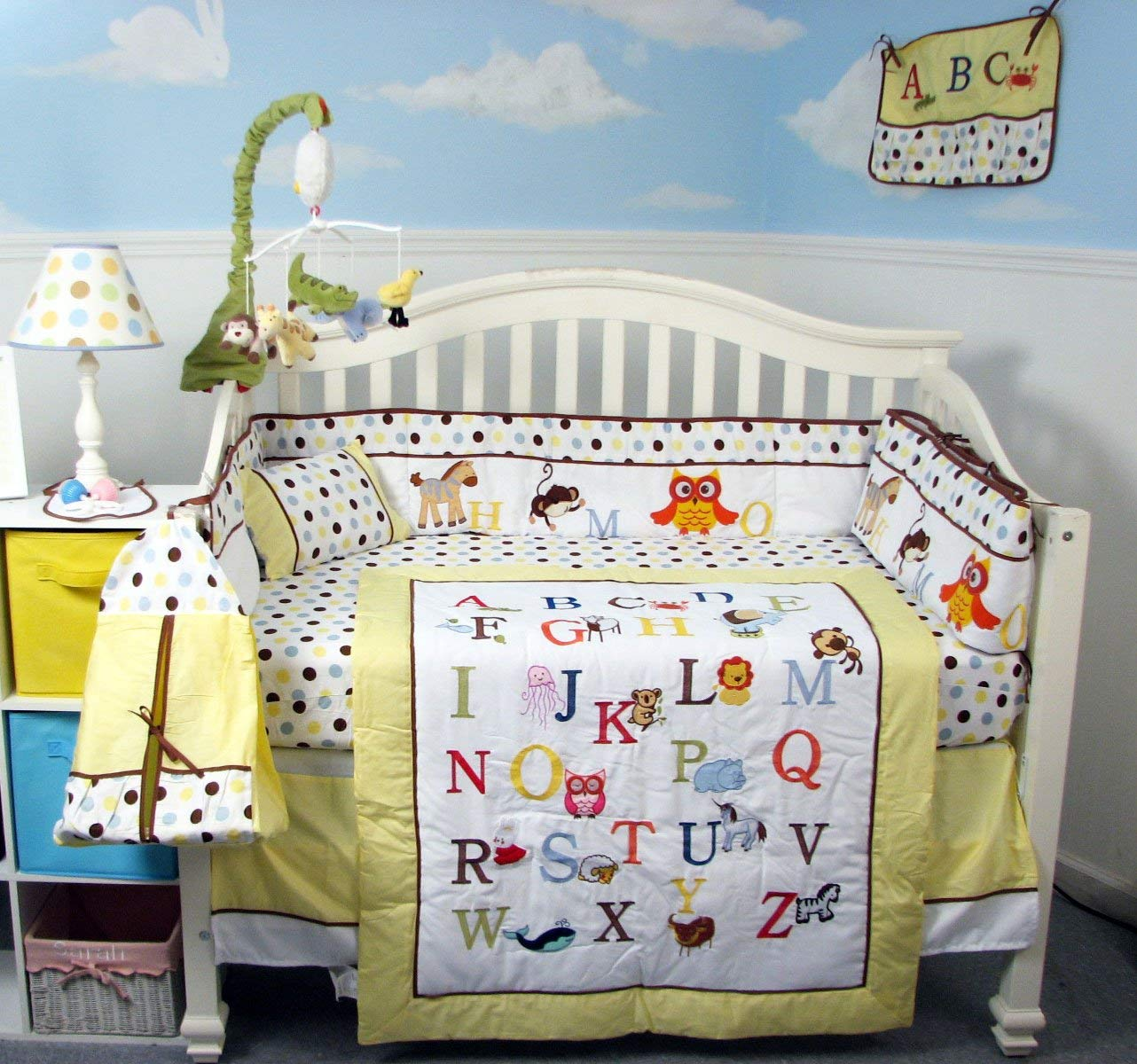 Baby Crib Nursery Bedding in Yellow with Alphabet motifs