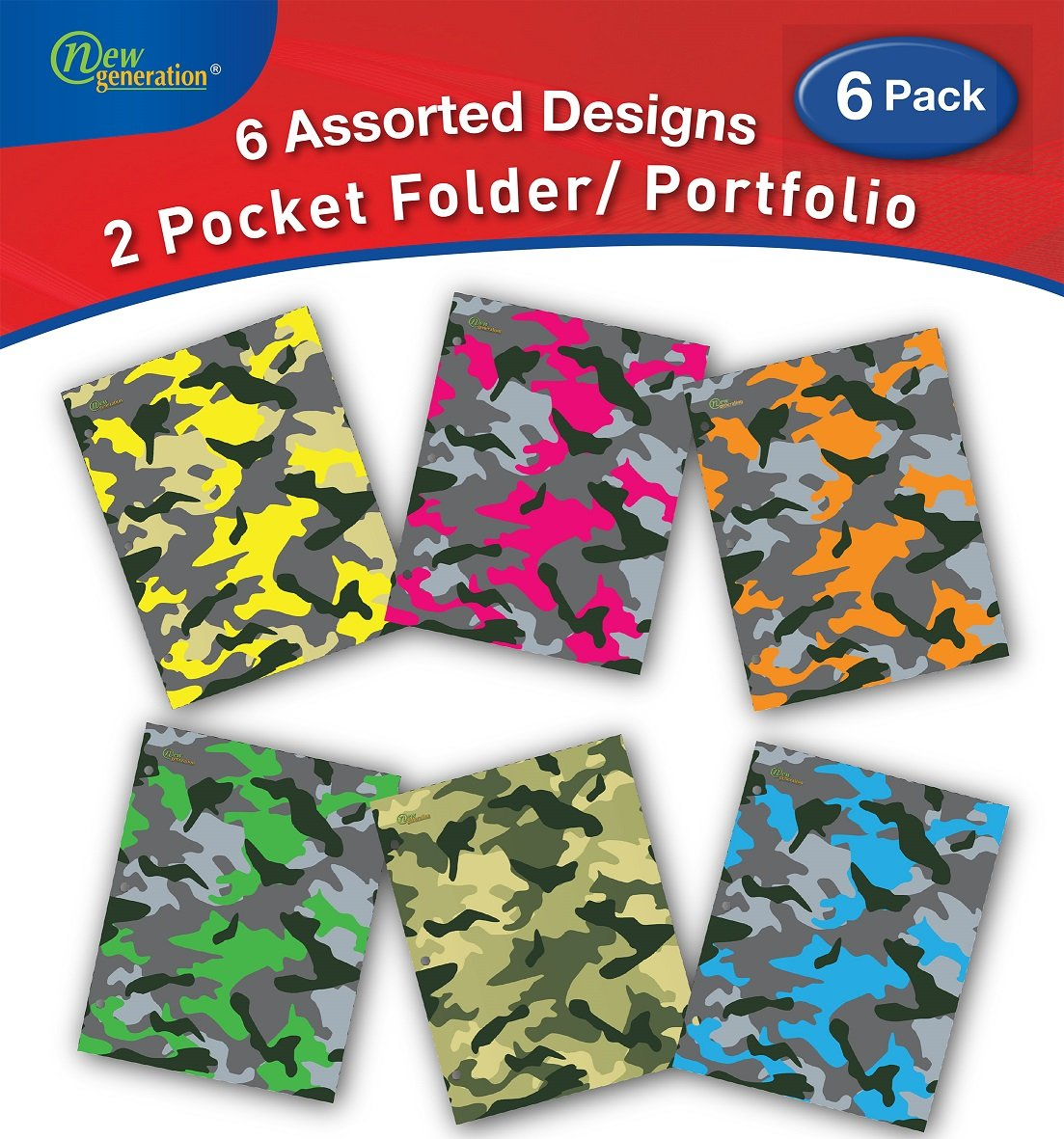 New Generation - Camouflage - 2 Pocket Folders / Portfolio 6 PACK Letter Size with 3 Hole Punch to use with your Binder Heavy Duty Glossy Finish UV Laminated Folder - Assorted 6 Fashion Design 6 PACK