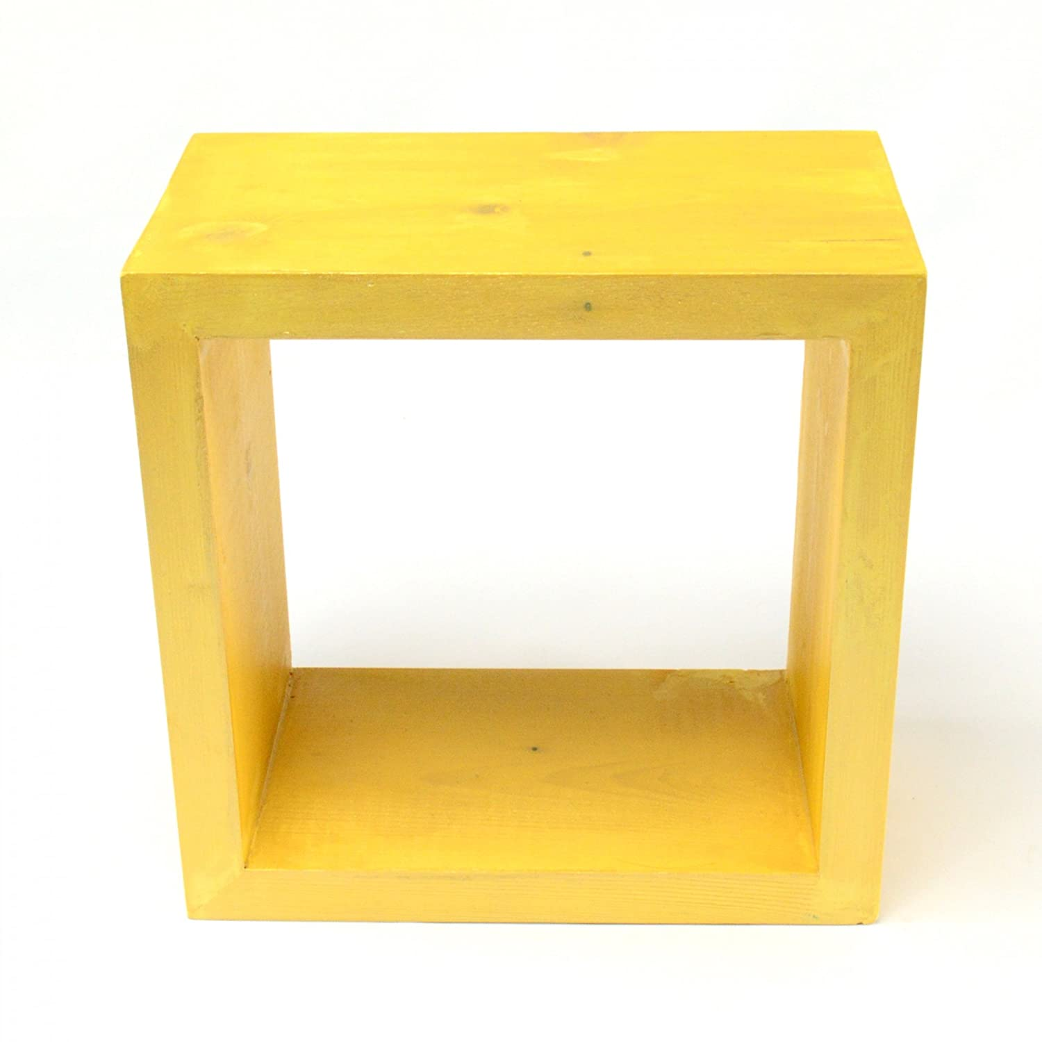 Wall shelf Wooden floating shelves Display unit cube box square small red