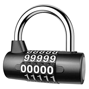 KeeKit 5 Digit Combination Lock, Re-settable Combination Padlock, Outdoor Combo Lock, Alloy Security Combination Locks for Gyms, Gates, Toolbox, Luggage, Cabinet, Bicycle, School, Home, Office, Travel