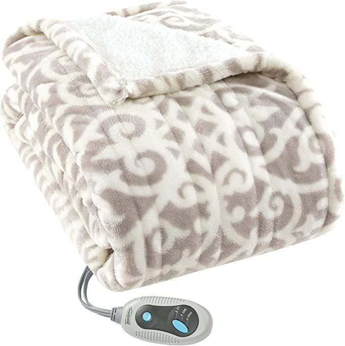 110V//220V Electric Heated Plush Throw Blanket Fast Heating Pain Relief w//