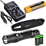 Fenix PD35 TAC 1000 Lumen CREE LED Tactical Flashlight with Fenix ARB-L2S 18650 Li-ion rechargeable battery, Fenix smart charger and 2 X EdisonBright CR123A Lithium batteries bundle