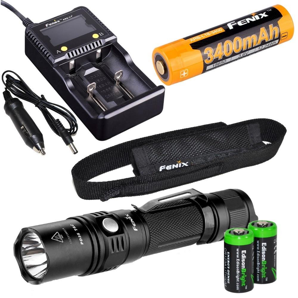 EdisonBright Fenix PD35 TAC 1000 Lumen CREE LED Tactical Flashlight with Fenix ARB-L2S 18650 Li-ion Rechargeable Battery, Fenix Smart Charger and 2 X CR123A Lithium Batteries Bundle