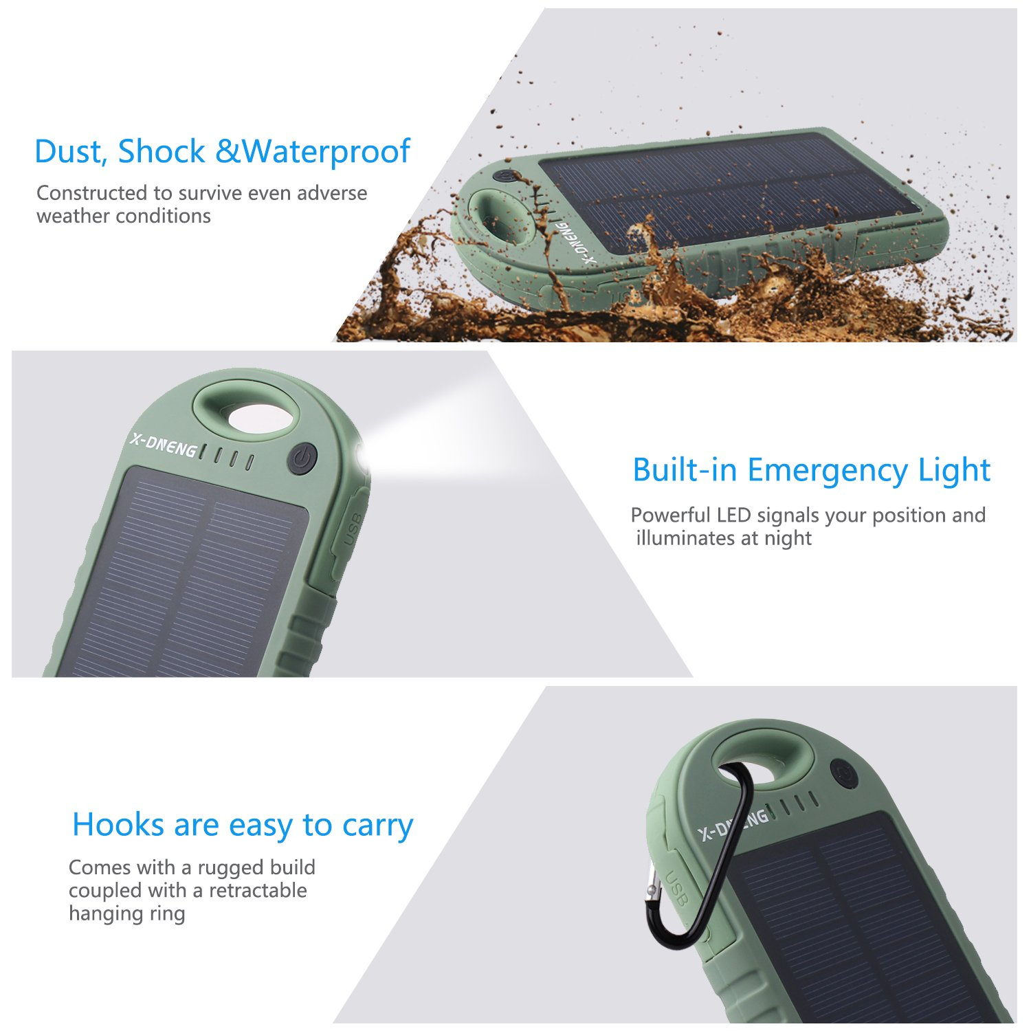 Waterproof Solar Charger, 12000mAh Mobile Solar Power Bank, X-DNENG Portable Outdoor Solar Battery Pack with Dual USB and LED Flashlights for iPhone X, 8, 7, 6s, iPad & Android, Galaxy S8, S7, S6, S5, Edge & more
